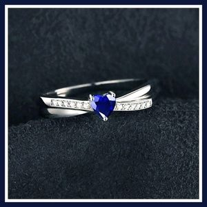 Sterling Silver Rhodium Finish Blue Sapphire Ring